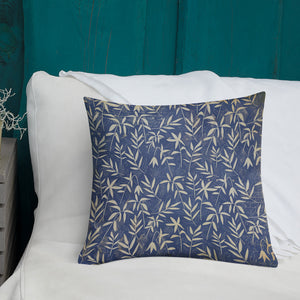 Vintage Japanese Floral Pattern Premium Pillow-Premium Throw Pillow-PureDesignTees