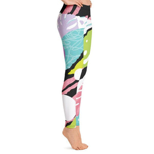 Fun Colorful Abstract Leggings-Leggings-PureDesignTees