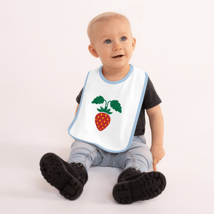 Strawberry Embroidered Baby Bib-Baby Bib-PureDesignTees