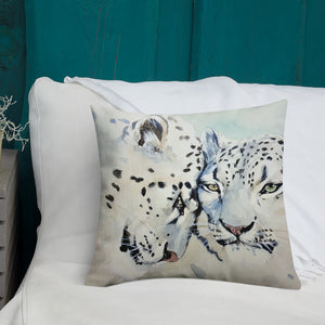 White Leopard Watercolor Premium Pillow-throw pillow-PureDesignTees