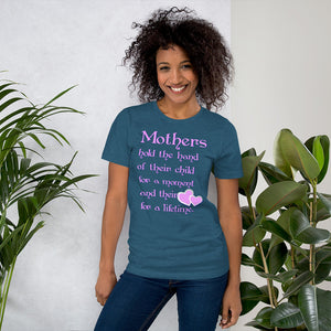 Mothers Hold the Hand Unisex Short Sleeve Jersey T-Shirt with Tear Away Label-PureDesignTees