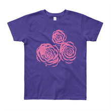 Load image into Gallery viewer, Pink Roses Drawing Youth Short Sleeve T-Shirt-T-Shirt-PureDesignTees
