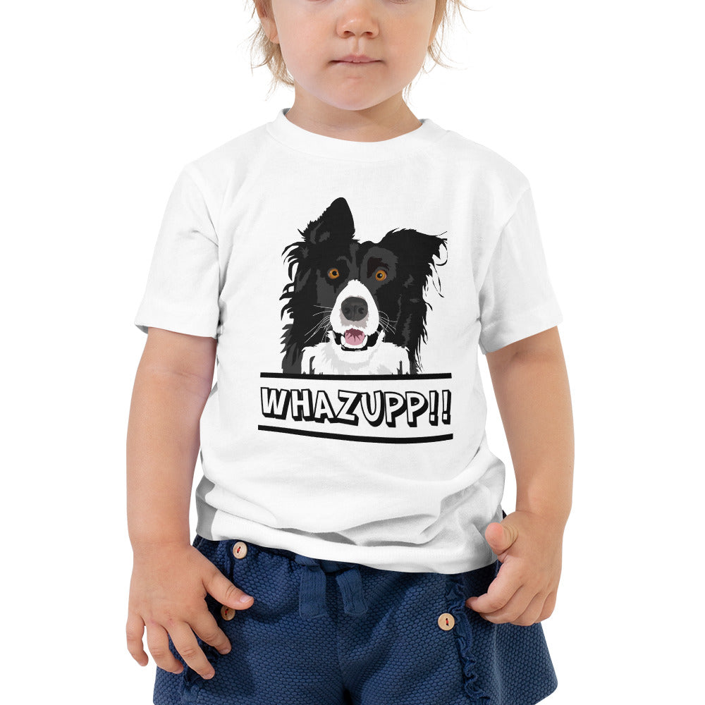 Dog Says Whazupp!! Toddler Short Sleeve Tee-Toddler T-shirt-PureDesignTees