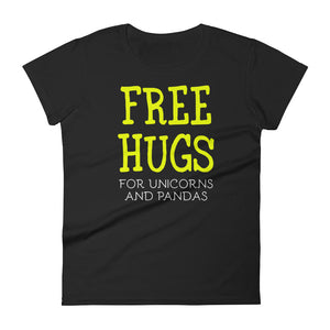 Free Hugs For Unicorns and Pandas Women's short sleeve t-shirt-t-shirt-PureDesignTees