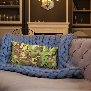 Green Camo Basic Pillow-Throw Pillow-PureDesignTees
