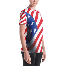 Load image into Gallery viewer, American Flag Women's T-shirt-t-shirt-PureDesignTees