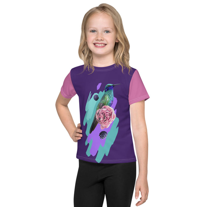 Hummingbird and Flowers Kids T-Shirt-all over print kids t-shirt-PureDesignTees
