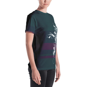 Grunge Cross on Striped Women's T-shirt-T-Shirt-PureDesignTees