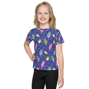 Ice Cream Pattern on Blue Kids T-Shirt-Kids T-shirt-PureDesignTees