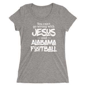 You Can't Go Wrong with Jesus and Alabama Ladies' short sleeve t-shirt-T-Shirt-PureDesignTees