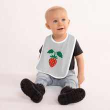 Load image into Gallery viewer, Strawberry Embroidered Baby Bib-Baby Bib-PureDesignTees
