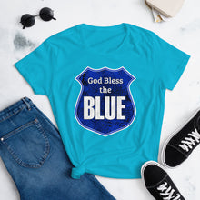 Load image into Gallery viewer, God Bless the Blue Women's short sleeve t-shirt-Women's short sleeve t-shirt-PureDesignTees