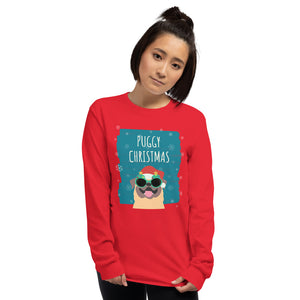 Puggy Christmas Long Sleeve T-Shirt-long sleeve t-shirt-PureDesignTees