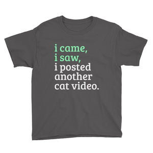 I came, I saw, I Posted Another Cat Video Youth Short Sleeve T-Shirt-t-shirt-PureDesignTees