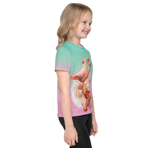 Gradient with Flamingo Kids T-Shirt-all over print kids t-shirt-PureDesignTees