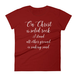 On Christ the Solid Rock Women's short sleeve t-shirt-T-Shirt-PureDesignTees