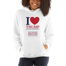 Load image into Gallery viewer, I Heart Trump and Maybe Three Other Republicans Unisex Hoodie-Hoodie-PureDesignTees