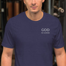 Load image into Gallery viewer, God is Good Embroidered Short-Sleeve Unisex T-Shirt-embroidered t-shirt-PureDesignTees