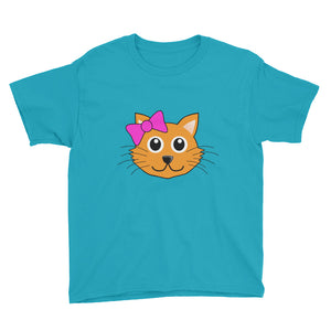 Cute Cat with Bow Youth Short Sleeve T-Shirt For Girls-T-Shirt-PureDesignTees