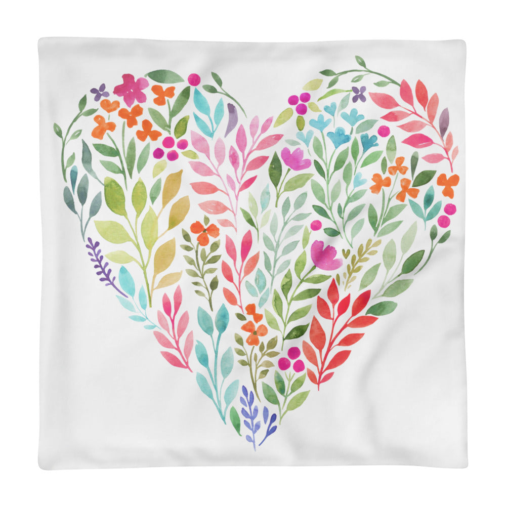 Watercolor Floral Heart Square Pillow Case only-PureDesignTees