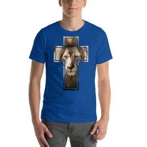 Lion Stare from the Cross Short-Sleeve Unisex T-Shirt-T-shirt-PureDesignTees