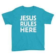 Load image into Gallery viewer, Jesus Rules Here Youth Short Sleeve T-Shirt-T-Shirt-PureDesignTees