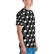 Load image into Gallery viewer, Vinyl Record Black and White Pattern Men's T-shirt-all over print t-shirt-PureDesignTees