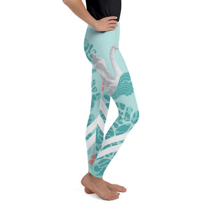 Lovely Swan Youth Leggings-Youth Leggings-PureDesignTees
