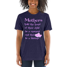 Load image into Gallery viewer, Mothers Hold the Hand Unisex Triblend Short Sleeve T-Shirt with Tear Away Label-Triblend T-shirt-PureDesignTees