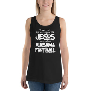 You Can't Go Wrong with Jesus and Alabama Football Unisex Tank Top-Tank Top-PureDesignTees
