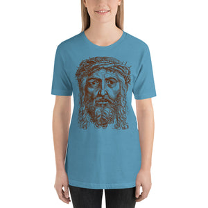 Jesus Portrait with Crown of Thorns Short-Sleeve Unisex T-Shirt, T-Shirt - PureDesignTees