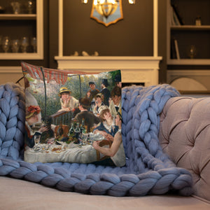 Renoir The Boating Party Lunch Premium Pillow-throw pillow-PureDesignTees