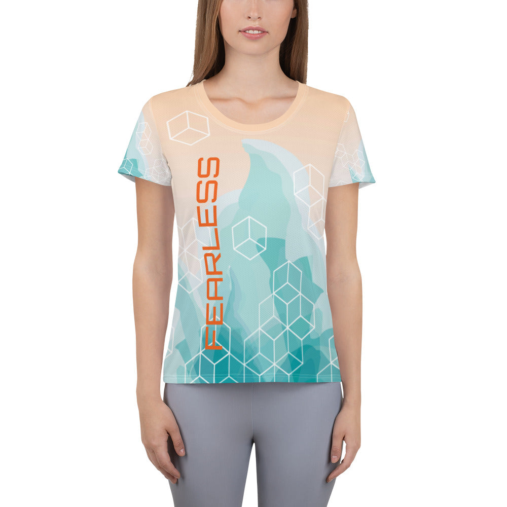 Fearless All-Over Print Women's Athletic T-shirt-Athletic T-Shirt-PureDesignTees