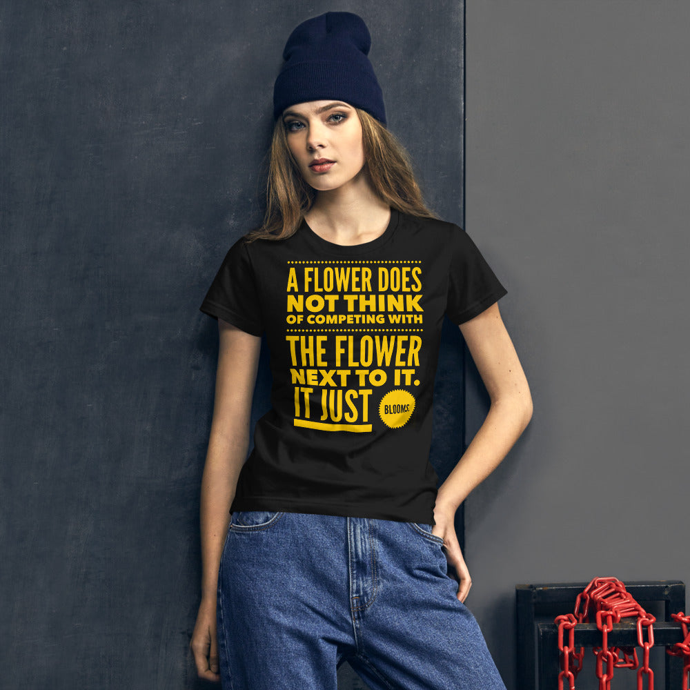 A Flower Does Not Think of Competing Women's short sleeve t-shirt-Women's T-Shirt-PureDesignTees