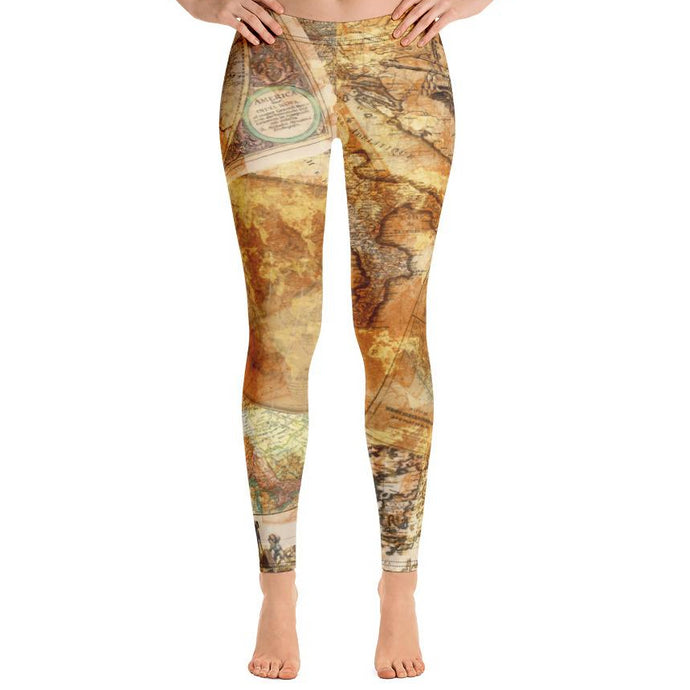 Antique Maps Leggings-leggings-PureDesignTees