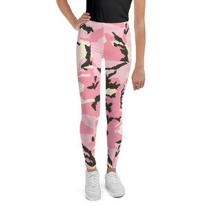 Pink Camo Youth Leggings-leggings-PureDesignTees