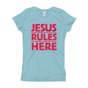 Jesus Rules Here Girl's T-Shirt-T-Shirt-PureDesignTees
