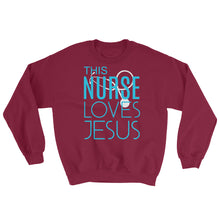 Load image into Gallery viewer, This Nurse Loves Jesus Sweatshirt-Sweatshirt-PureDesignTees