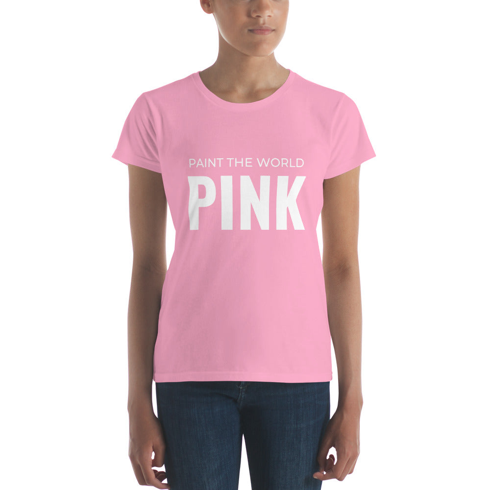 Paint the World Pink Women's short sleeve t-shirt-T-Shirt-PureDesignTees