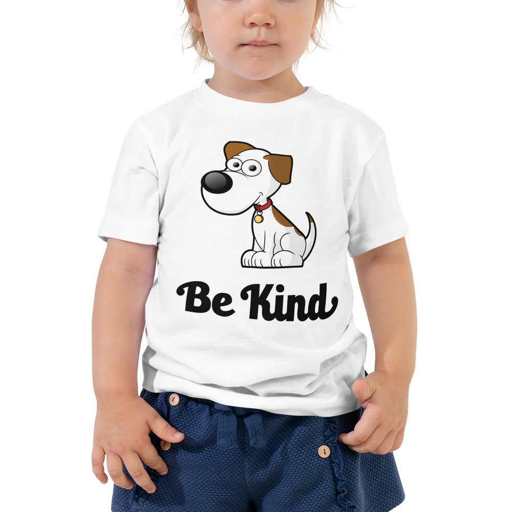 Be Kind with Cute Puppy Toddler Short Sleeve Tee-toddler t-shirt-PureDesignTees
