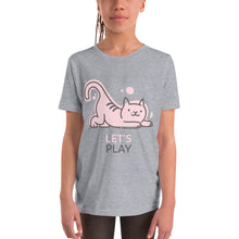 Load image into Gallery viewer, Let's Play Cute Kitty Youth Short Sleeve T-Shirt-youth t-shirt-PureDesignTees