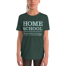 Load image into Gallery viewer, Homeschool Cause Public School is like, you know, ewww Youth Short Sleeve T-Shirt-youth t-shirt-PureDesignTees