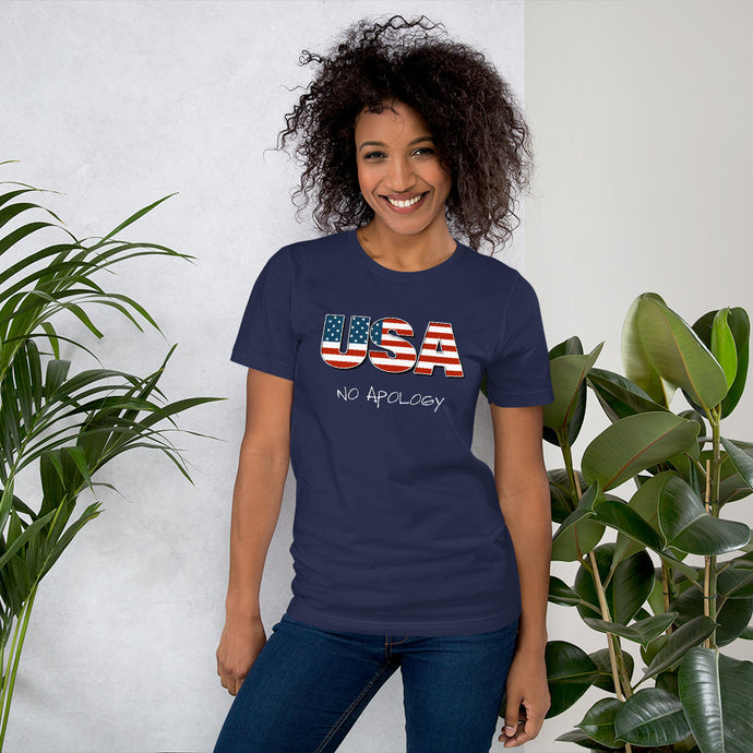 USA No Apology Short-Sleeve Unisex T-Shirt-t-shirt-PureDesignTees