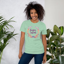 Load image into Gallery viewer, Foster Mom Floral Wreath Short-Sleeve Unisex T-Shirt-T-Shirt-PureDesignTees