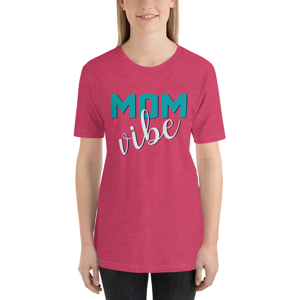Mom Vibe Unisex Short Sleeve Jersey T-Shirt with Tear Away Label
