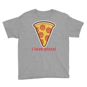 i love pizza Youth Short Sleeve T-Shirt-PureDesignTees