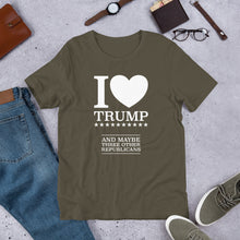 Load image into Gallery viewer, I Heart Trump and Maybe Three Other Republicans Short-Sleeve Unisex T-Shirt-T-Shirt-PureDesignTees