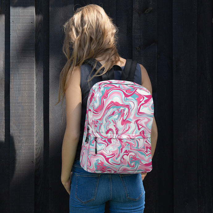 Marble pink Backpack-backpack-PureDesignTees