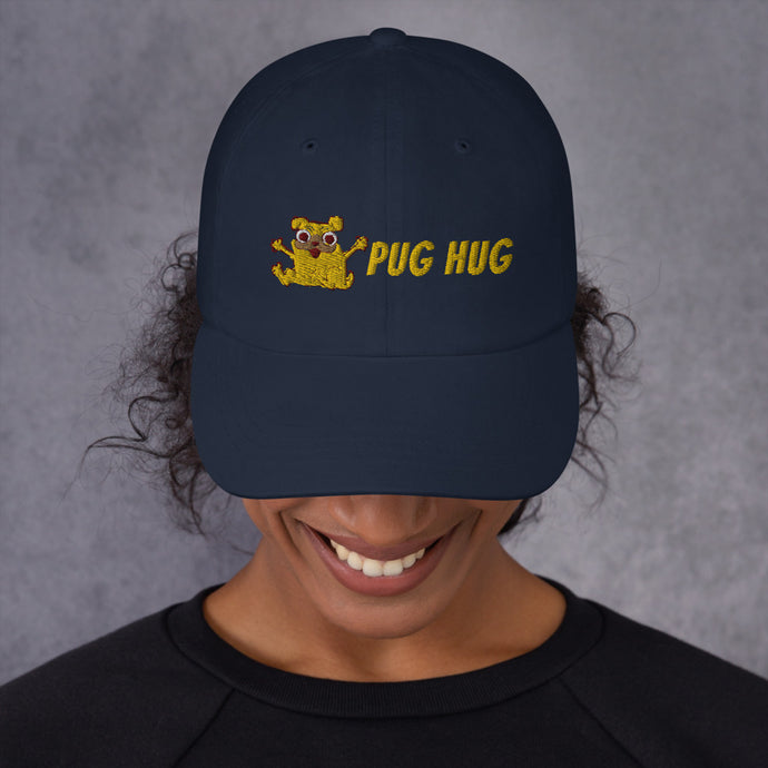 Embroidered Pug Hug Dad hat-Dad Hat-PureDesignTees