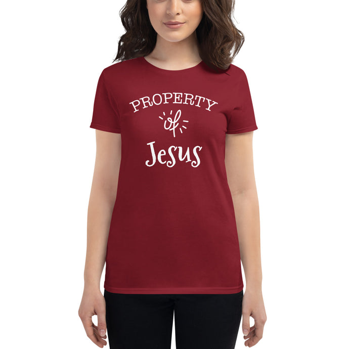 Property of Jesus Women's short sleeve t-shirt-Women's T-Shirt-PureDesignTees